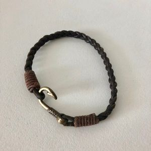 Jewelry - Leather Fish Hook Brown Bracelet Mens Womens
